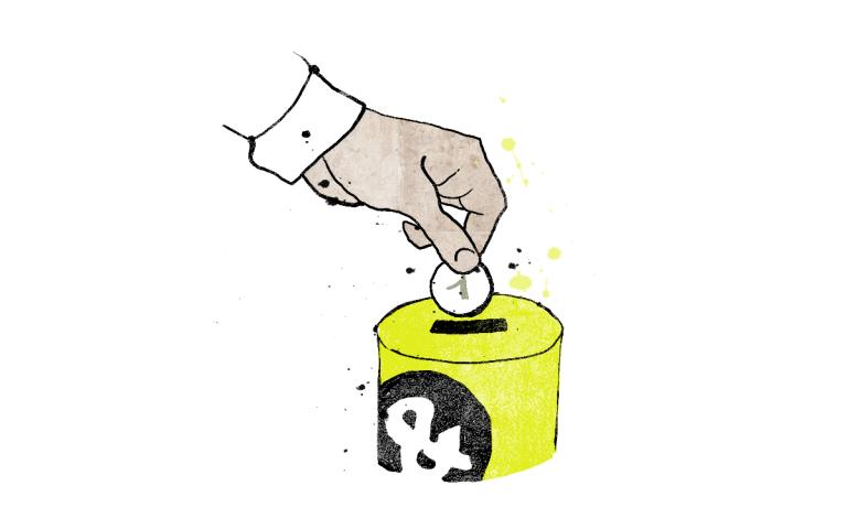 Eine Hand wirf eine Münze in eine Spendenbüchse